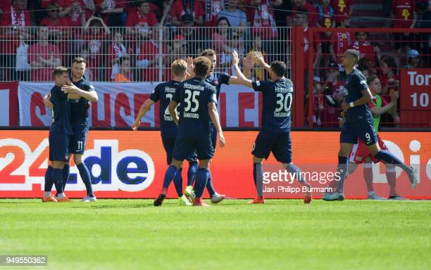 Nikola Dovedan Denis Thomalla Marcel TitschRivero Kevin Lankford Norman Theuerkauf and Robert Glatzel of 1 FC Heidenheim celebrate after scoring the...