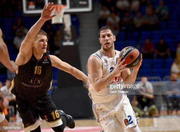 Nikola Ivanovic #2 of Buducnost Voli Podgorica competes with in action during the 2018/2019 Turkish Airlines EuroLeague Regular Season Round 1 game...