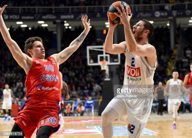 Nikola Ivanovic #2 of Buducnost Voli Podgorica in action during the 2018/2019 Turkish Airlines EuroLeague Regular Season Round 9 game between...