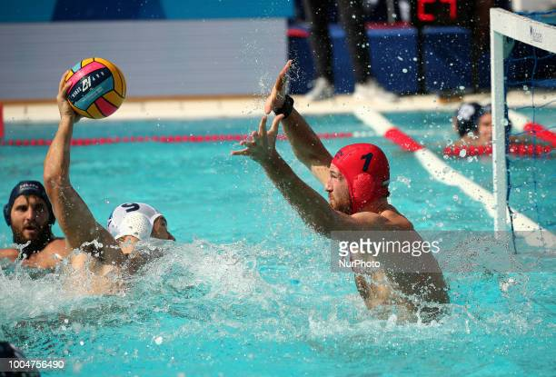 Nikola Jaksic and Viktor Nagy during the match between Serbia and Hungary corresponding to the women group stage of the European Water Polo...