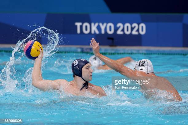 Nikola Jaksic of Team Serbia is blocked by Angelos Vlachopoulos of Team Greece during the Men's Gold Medal match between Greece and Serbia on day...