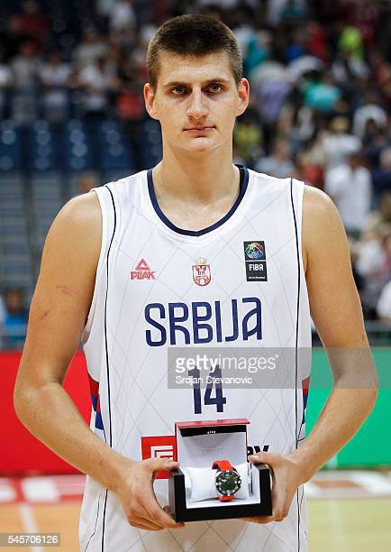 Nikola Jokic of Serbia poses with the MVP award after the 2016 FIBA World Olympic Qualifying basketball Final match between Serbia and Puerto Rico at...