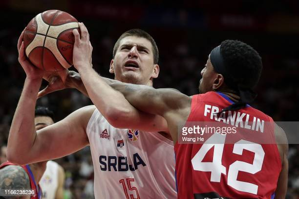 Nikola Jokic of Serbia reacts against Puerto rico during FIBA Basketball World Cup China 2019 at Wuhan Sports Center on September 06 2019 in Wuhan...