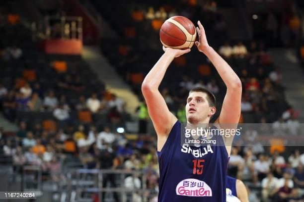 Nikola Jokic of Serbia shoots during FIBA World Cup 2019 Quarter-finals match between Argentina and Serbia at Dongguan Basketball Center on September...