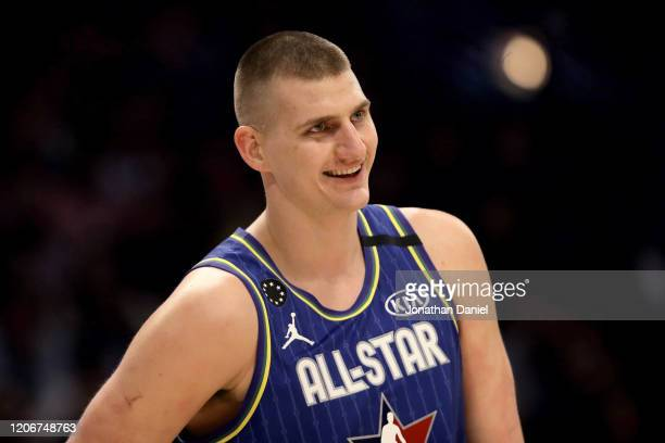 Nikola Jokic of Team LeBron looks on in the second quarter against Team Giannis during the 69th NBA All-Star Game at the United Center on February...