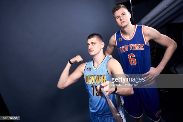 Nikola Jokic of the Denver Nuggets and Kristaps Porzingis of the New York Knicks poses for a portrait during State Farm AllStar Saturday Night as...