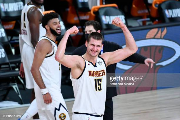 Nikola Jokic of the Denver Nuggets celebrates after the game against the LA Clippers during Game Seven of the Western Conference SemiFinals of the...