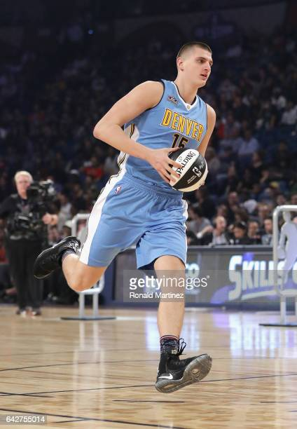 Nikola Jokic of the Denver Nuggets competes in the 2017 Taco Bell Skills Challenge at Smoothie King Center on February 18 2017 in New Orleans...