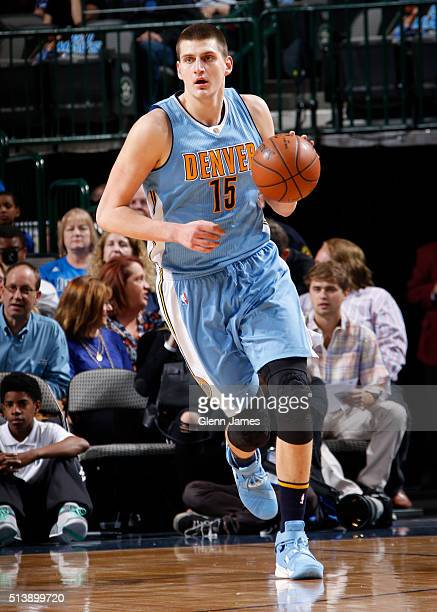 Nikola Jokic of the Denver Nuggets dribbles the ball against the Dallas Mavericks on February 26 2016 at the American Airlines Center in Dallas Texas...