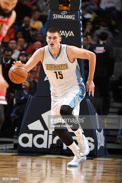 Nikola Jokic of the Denver Nuggets drives to the basket against the Chicago Bulls during the game on November 22 2016 at the Pepsi Center in Denver...