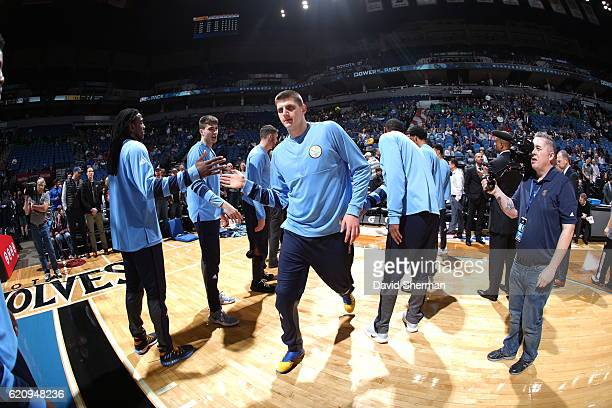 Nikola Jokic of the Denver Nuggets gets introduced before the game against the Minnesota Timberwolves during the game on November 3 2016 at Target...