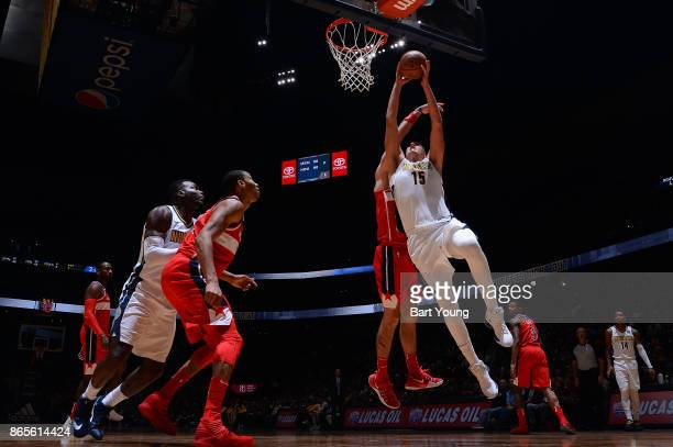 Nikola Jokic of the Denver Nuggets goes for a lay up against the Washington Wizards on October 23 2017 at the Pepsi Center in Denver Colorado NOTE TO...