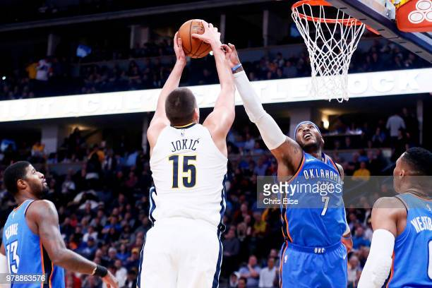 Nikola Jokic of the Denver Nuggets goes to the basket against the Oklahoma City Thunder on November 9 2017 at Pepsi Center in Denver Colorado NOTE TO...