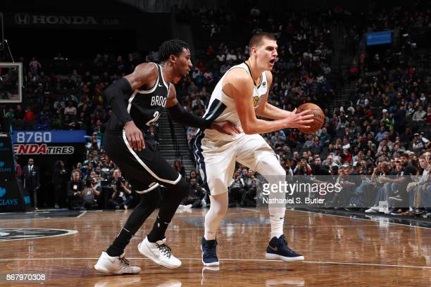 Nikola Jokic of the Denver Nuggets handles the ball against the Brooklyn Nets on October 29 2017 at Barclays Center in Brooklyn New York NOTE TO USER...