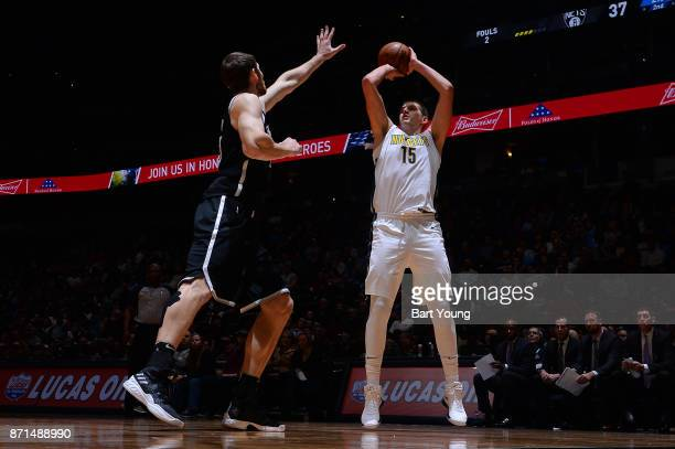 Nikola Jokic of the Denver Nuggets handles the ball against the Brooklyn Nets on November 7 2017 at the Pepsi Center in Denver Colorado NOTE TO USER...
