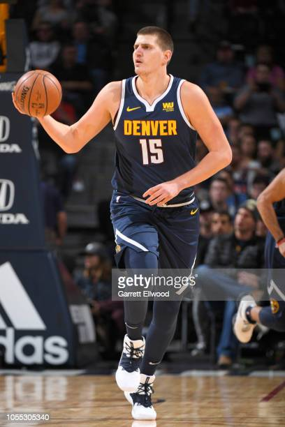 Nikola Jokic of the Denver Nuggets handles the ball against the New Orleans Pelicans on October 29 2018 at the Pepsi Center in Denver Colorado NOTE...
