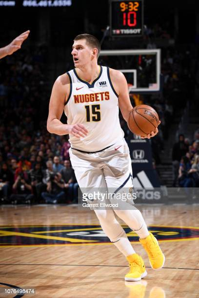 Nikola Jokic of the Denver Nuggets handles the ball against the New York Knicks on January 1 2019 at the Pepsi Center in Denver Colorado NOTE TO USER...