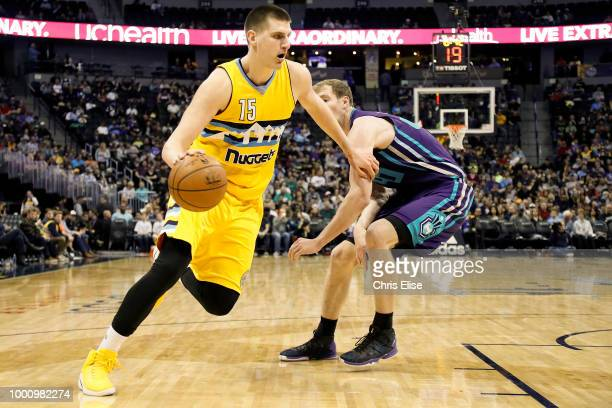 Nikola Jokic of the Denver Nuggets handles the ball against the Charlotte Hornets on March 4 2017 at the Pepsi Center in Denver Colorado NOTE TO USER...