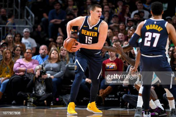 Nikola Jokic of the Denver Nuggets handles the ball against the Charlotte Hornets on January 05 2019 at the Pepsi Center in Denver Colorado NOTE TO...