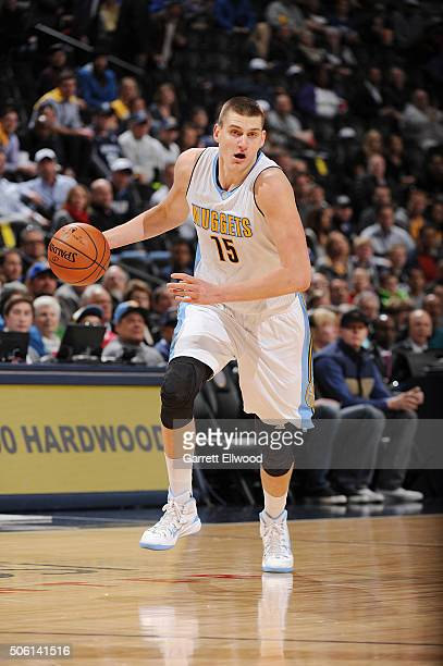 Nikola Jokic of the Denver Nuggets handles the ball against the Memphis Grizzlies on January 21 2016 at the Pepsi Center in Denver Colorado NOTE TO...
