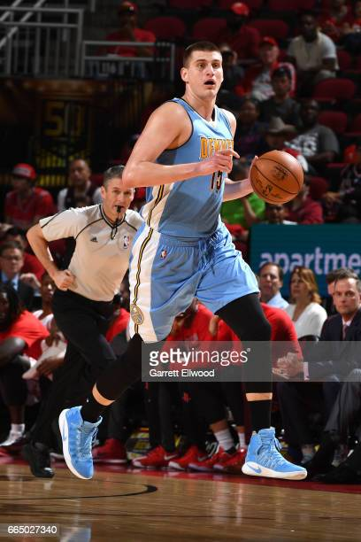 Nikola Jokic of the Denver Nuggets handles the ball against the Houston Rockets on April 5 2017 at Toyota Center in Houston Texas NOTE TO USER User...