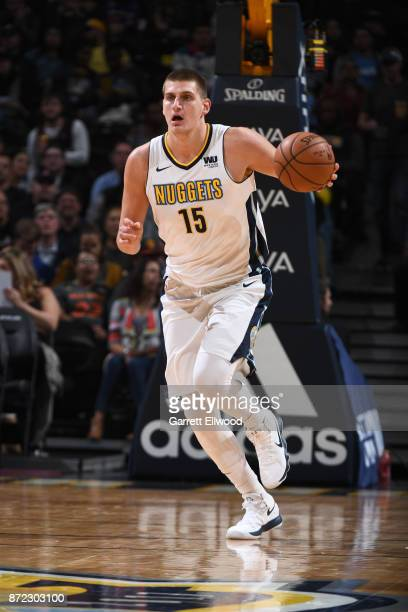 Nikola Jokic of the Denver Nuggets handles the ball against the Toronto Raptors on November 1 2017 at the Pepsi Center in Denver Colorado NOTE TO...
