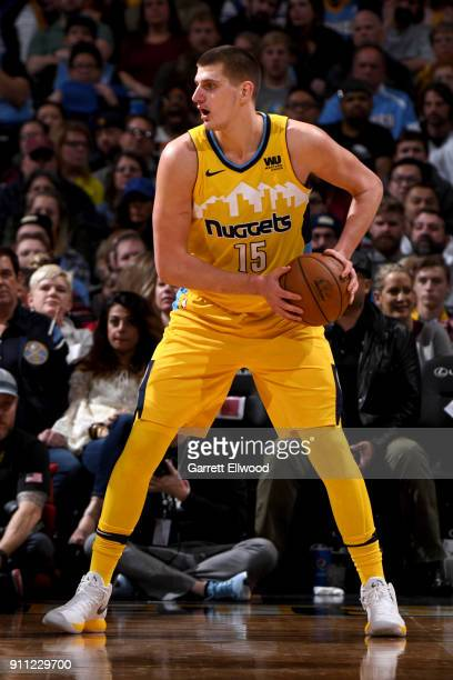 Nikola Jokic of the Denver Nuggets handles the ball against the Dallas Mavericks on January 27 2018 at the Pepsi Center in Denver Colorado NOTE TO...