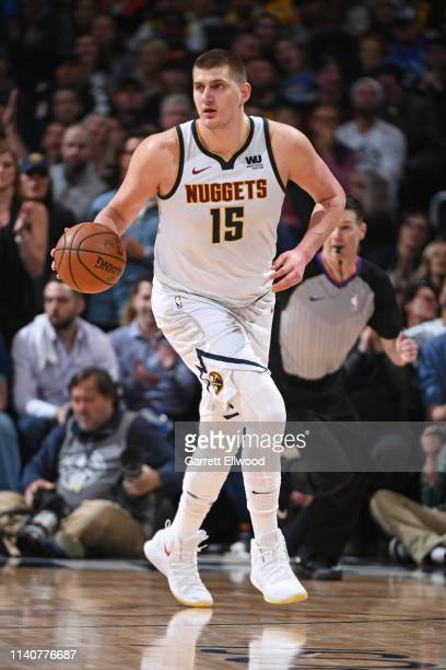 Nikola Jokic of the Denver Nuggets handles the ball against the Portland Trail Blazers during Game Two of the Western Conference Semifinals of the...