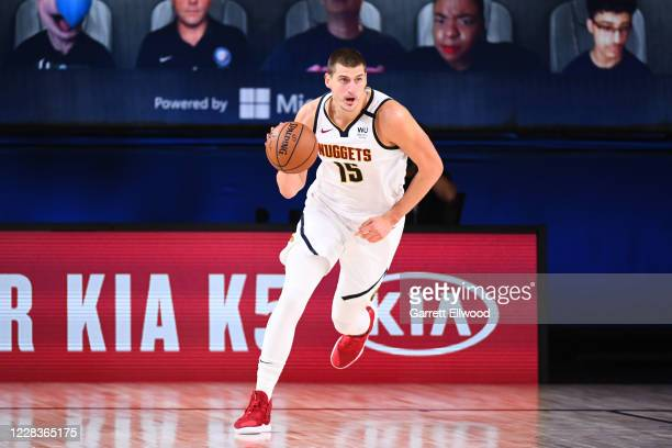 Nikola Jokic of the Denver Nuggets handles the ball against the LA Clippers during Game Two of the Western Conference Semifinals of the NBA Playoffs...
