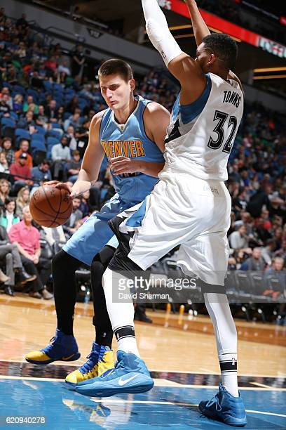 Nikola Jokic of the Denver Nuggets handles the ball against the Minnesota Timberwolves during the game on November 3 2016 at Target Center in...