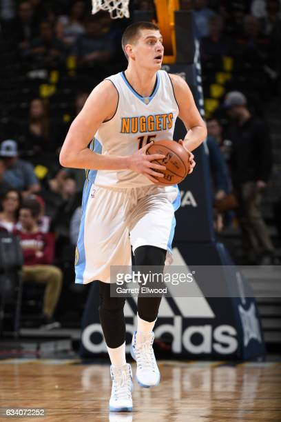 Nikola Jokic of the Denver Nuggets handles the ball against the Dallas Mavericks during the game on February 6 2017 at the Pepsi Center in Denver...