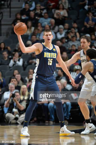 Nikola Jokic of the Denver Nuggets handles the ball against the San Antonio Spurs on January 30 2018 at the ATT Center in San Antonio Texas NOTE TO...