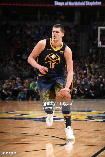 Nikola Jokic of the Denver Nuggets handles the ball against the San Antonio Spurs on February 13 2018 at the Pepsi Center in Denver Colorado NOTE TO...
