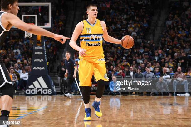 Nikola Jokic of the Denver Nuggets handles the ball during a game against the Brooklyn Nets on February 24 2017 at the Pepsi Center in Denver...