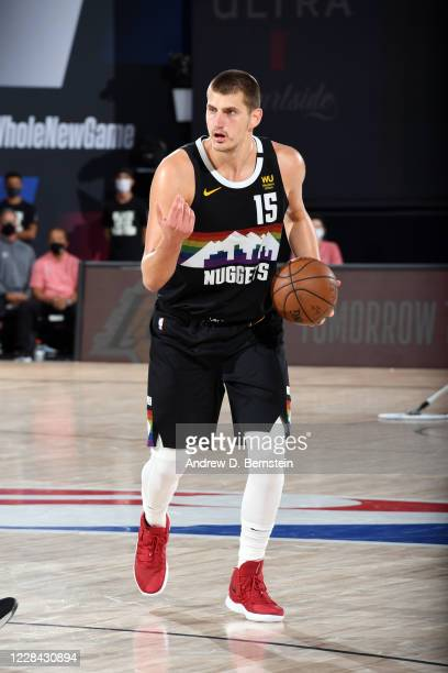 Nikola Jokic of the Denver Nuggets handles the ball during the game against the LA Clippers during Game Four of the Western Conference Semifinals of...