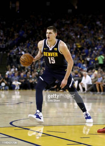 Nikola Jokic of the Denver Nuggets in action against the Golden State Warriors at ORACLE Arena on April 02 2019 in Oakland California NOTE TO USER...
