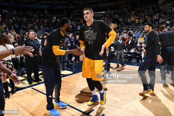 Nikola Jokic of the Denver Nuggets is introduced before a game against the Brooklyn Nets on February 24 2017 at the Pepsi Center in Denver Colorado...