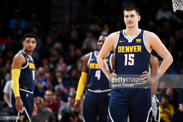 Nikola Jokic of the Denver Nuggets looks on during He game against the San Antonio Spurs on April 3 2019 at the Pepsi Center in Denver Colorado NOTE...