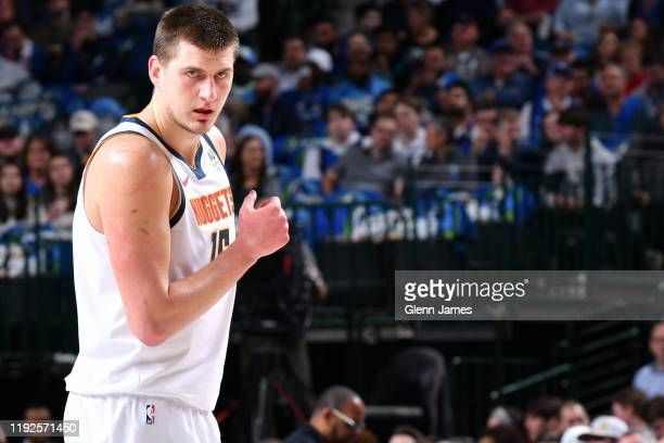 Nikola Jokic of the Denver Nuggets looks on during the game against the Dallas Mavericks on January 8, 2020 at the American Airlines Center in...