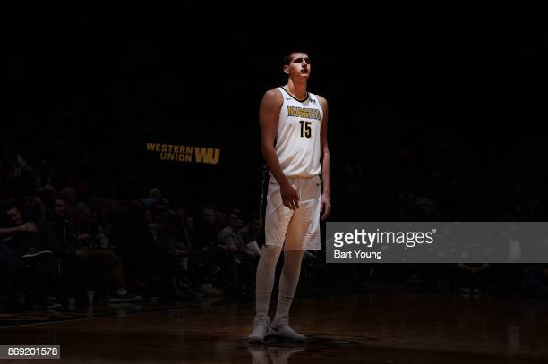 Nikola Jokic of the Denver Nuggets looks on during the game against the Toronto Raptors on November 1, 2017 at the Pepsi Center in Denver, Colorado....