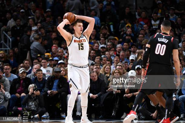 Nikola Jokic of the Denver Nuggets looks to pass against the Portland Trail Blazers during Game One of the Western Conference Semifinals of the 2019...