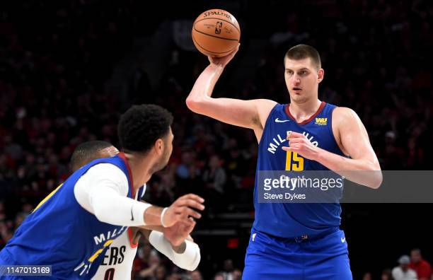 Nikola Jokic of the Denver Nuggets looks to pass the ball during the second half of game three of the Western Conference Semifinals against the...