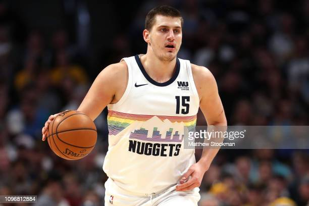 Nikola Jokic of the Denver Nuggets plays the Cleveland Cavaliers at the Pepsi Center on January 19, 2019 in Denver, Colorado. NOTE TO USER: User...