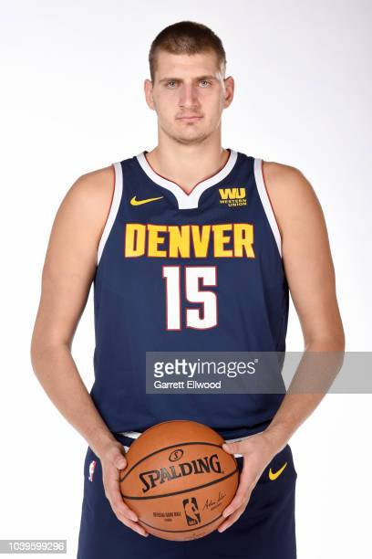 Nikola Jokic of the Denver Nuggets poses for a portrait during Media Day on September 24 2018 at the Pepsi Center in Denver Colorado NOTE TO USER...