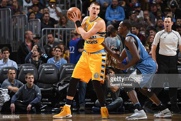Nikola Jokic of the Denver Nuggets posts up against the Minnesota Timberwolves on December 28 2016 at the Pepsi Center in Denver Colorado NOTE TO...