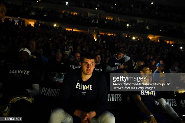 Nikola Jokic of the Denver Nuggets prepares to be introduced against the San Antonio Spurs before the first quarter on Saturday April 13 2019 The...