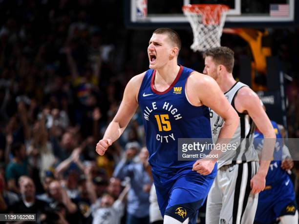 Nikola Jokic of the Denver Nuggets reacts to a play against the San Antonio Spurs during Game Five of Round One of the 2019 NBA Playoffson April 23...
