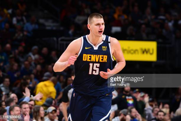 Nikola Jokic of the Denver Nuggets reacts to a play during the game against the Utah Jazz on January 30, 2020 at the Pepsi Center in Denver,...