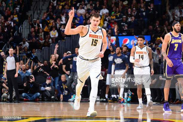 Nikola Jokic of the Denver Nuggets reacts to play against the Los Angeles Lakers on February 12, 2020 at the Pepsi Center in Denver, Colorado. NOTE...