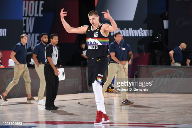 Nikola Jokic of the Denver Nuggets reacts to play during Round One, Game Seven of the NBA Playoffs on September 1, 2020 at AdventHealth Arena in...